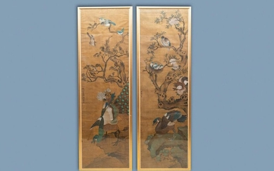Shen Quan (1682 1762), ink and colour on silk, 18th C.: 'Two scenes with birds'