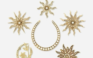 Six gold and seed pearl brooches
