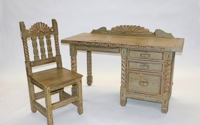 Southwest Spanish Mission Style Desk and Chair