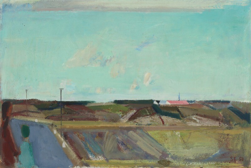 Svend Engelund: Country scenery with farms and blue sky. Signed and dated SE 50. Oil on canvas. 64.5×94 cm.