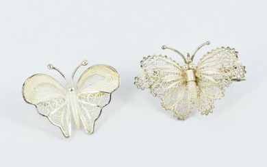 TWO FILIGREE SILVER BROOCHES