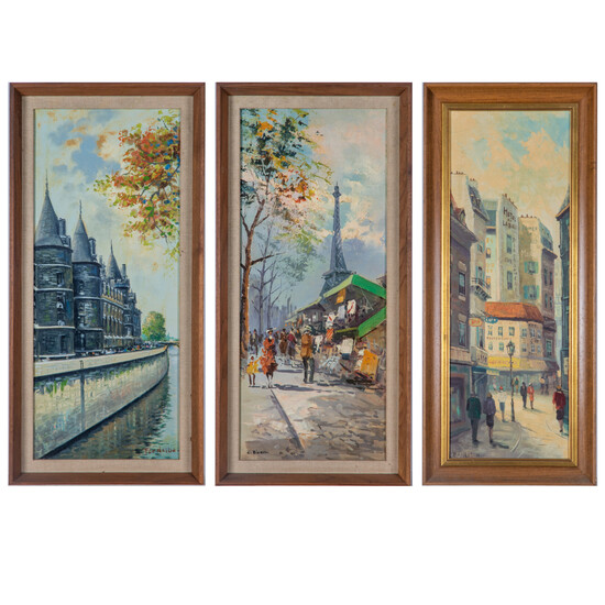 Three Parisian Street Scenes by Various Artists