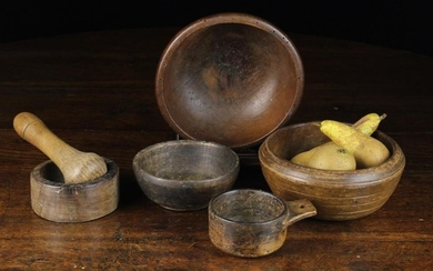 Three Small 19th Century Turned Treen Bowls, a Wine Taster originating from the Auvergne region and