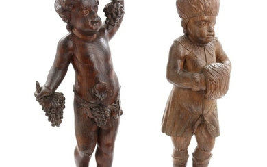 Two 18th century Baroque allegorical carved oak figures of autumn and winter. H. 77 and 79 cm. (2)