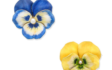 Two early 20th century enamel pansy brooches