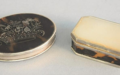Two snuff boxes, oval with silver case and tortoise