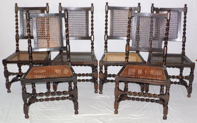 Victorian Oak and Bergere Barley Twist Dining Chairs c.1900....