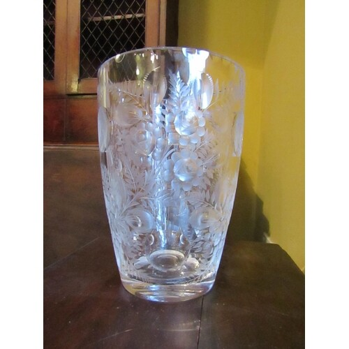 Vintage Highly Detailed French Glass Vase Cut Crystal Shaped...