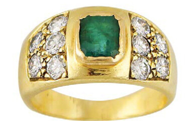 Yellow gold band ring set with emerald and...