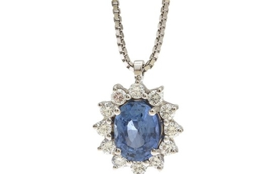 A sapphire and diamond necklace set with an oval-cut sapphire weighing app. 2.13 ct. encircled by numerous brilliant-cut diamonds, mounted in 18k white gold.