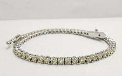 14 kt. White gold - Bracelet - 2.25 ct Diamond - natural fancy yellow no reserve