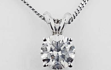 14 kt. White gold - Necklace with pendant - 1.01 ct Diamond - No ReserveF/VS2