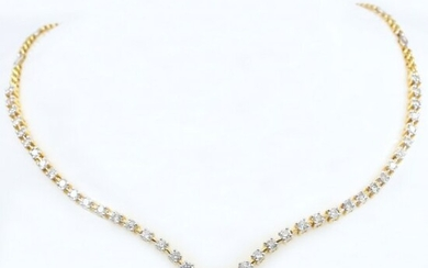 14K / 585 Yellow Gold Solitaire Diamond String Necklace