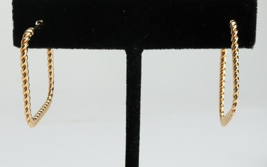 14K Yellow Gold Square Twisted Wire Hoop Earrings