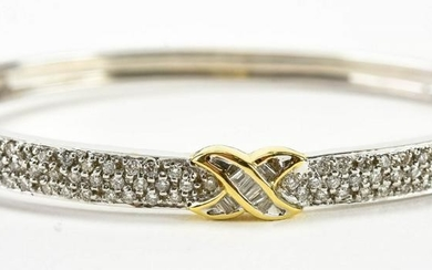 14kt White Gold & 1 Carat Diamond Bangle Bracelet