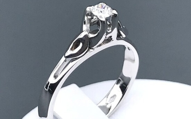 18 kt. White gold - Ring - 0.13 ct Diamond