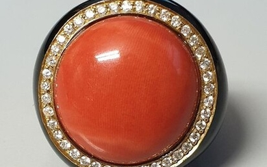 18 kt. Yellow gold - Ring - 0.56 ct Diamond - CORAL