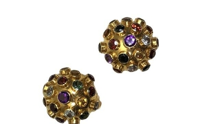 18K YELLOW GOLD MULTI-COLOR GEMSTONE EARRINGS