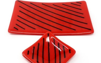 1980s Red and Black Striped Glass Plates