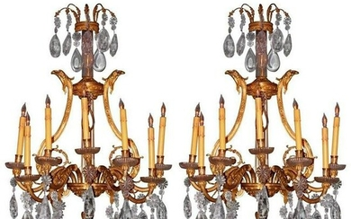 19th Century French Dore Bronze Cut Crystal Sconces