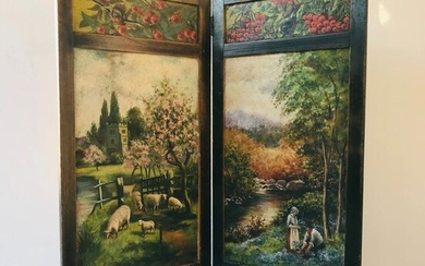 "19th century room / fireplace screen with landscape scene ""hand painted"""