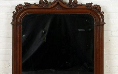 19TH C. GOTHIC STYLE OAK OVER MANTLE MIRROR