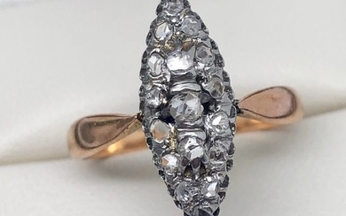 "18 kt. Pink gold, Platinum - Marquise ring late nineteenth ""no reserve price"" Pink cut diamonds"