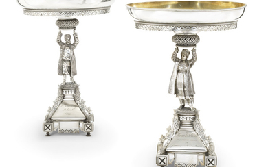 A PAIR OF LARGE PARCEL-GILT SILVER TAZZAS, MARK OF A. MARTIANOV, ST PETERSBURG, 1884