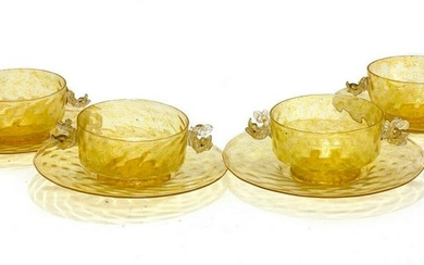 4 Salviati Amber Art Glass Bowls & Underplates, c1950