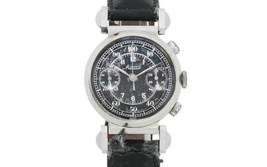 Minerva. A stainless steel manual wind chronograph wristwatch with hinged lugs