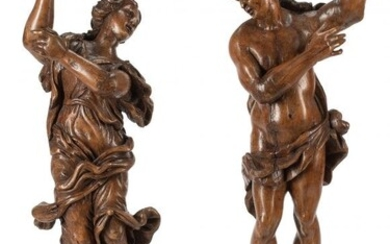 61049: A Pair of French Carved Hard Wood Figures, 17th