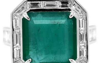 7.29 tcw Emerald Baguette Natural Diamond Ring in 18K