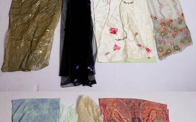 (8) Wool, Silk and Net Shawls