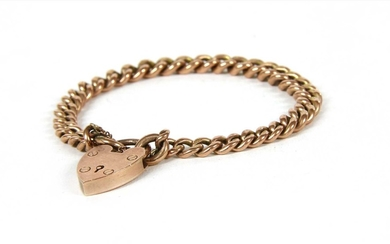 A 9ct gold graduated curb link bracelet