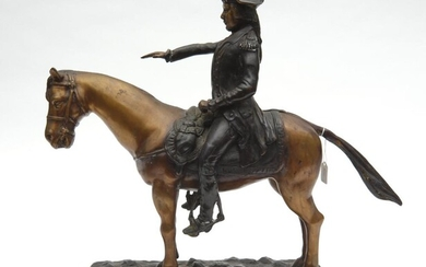 A BRONZE EQUESTRIAN FIGURE GROUP DEPICTING A MOUNTED SOLDIER, RAISED ON A NATURALISTICALLY MODELLED RECTANGULAR BASE, 50 CM WIDE, 42...