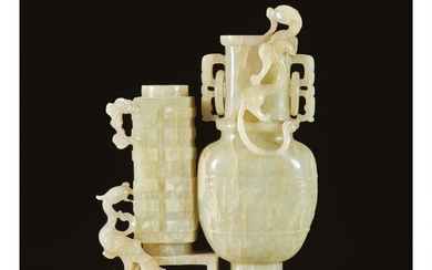 A CELADON JADE 'CHILONG AND PHOENIX' DOUBLE VASE GROUP, QING DYNASTY, 18TH / EARLY 19TH CENTURY