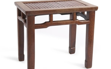 A CHINESE BAMBOO-INSET OAK STOOL QING DYNASTY (1644-1912), CIRCA 19TH CENTURY