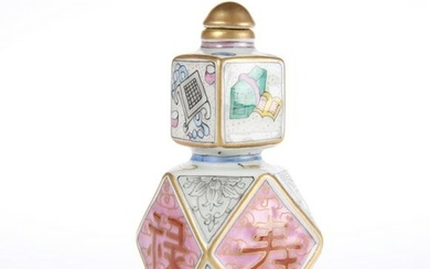 A CHINESE FAMILLE ROSE SNUFF BOTTLE, of faceted gourd