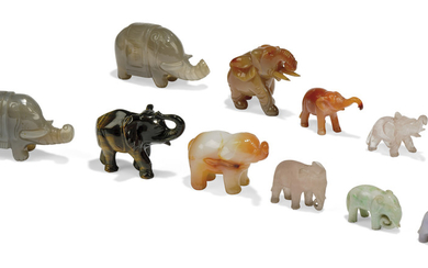A COLLECTION OF ELEVEN HARDSTONE ELEPHANTS, 19TH/20TH CENTURY