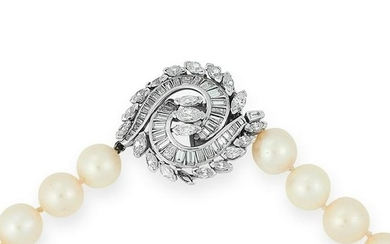 A CULTURED PEARL AND DIAMOND NECKLACE comprising of a