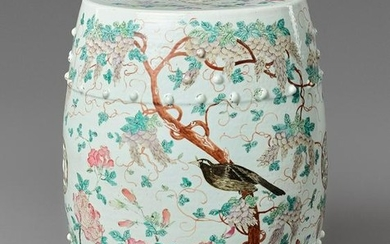A FAMILLE ROSE 'MAGPIES' GARDEN STOOL, QING