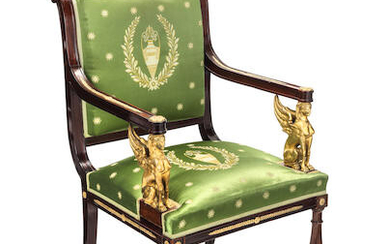 A French 19th century Empire revival gilt bronze mounted fauteuil