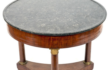 A French Empire Gilt Metal Mounted Marble Top Walnut Center Table