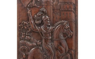 A French Relief-Carved Walnut Panel Depicting Louis VI
