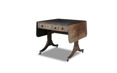 A GEORGE IV INLAID ROSEWOOD SHAPED RECTANGULAR DOUBLE...