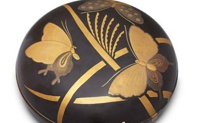 A Japanese lacquer circular box, early 20th...
