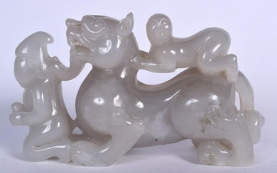 A LARGE CHINESE JADE CARVING OF A MYTHICAL BEAST