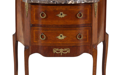 A Louis XV/XVI Transitional Style Gilt Metal Mounted Marble-Top Commode