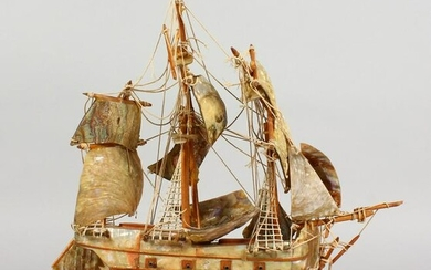 A MOTHER-OF-PEARL AND WOODEN MODEL OF THE ENDEAVOUR.