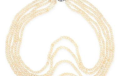A NATURAL PEARL, SAPPHIRE AND DIAMOND NECKLACE, EARLY